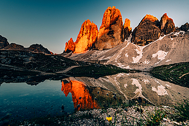 Alpenglow Drei Zinnen in the Sesto Dolomites, South Tyrol, Italy, Europe;