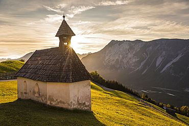 House chapel in Haimingerberg with a view of the Inn Valley, Tyrol, Austria