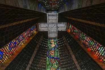 Interior of the Cathedral Catedral Metropolitana with its stunning stained glass windows, Rio de Janeiro, Rio de Janeiro, Brazil, South America