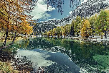 Mountain lake in Graubünden, Switzerland, Europe
