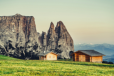 Sunrise on the Seiser Alm in South Tyrol, Italy, Europe;
