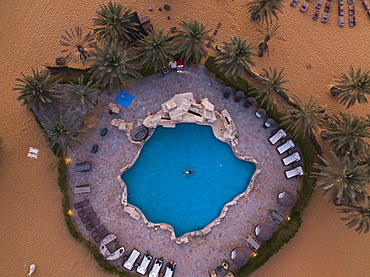 Aerial view of the Oasis swimming pool at the Arabian Nights Village Desert Resort, Arabian Nights Village, Razeen Area of Al Khatim, Abu Dhabi, United Arab Emirates, Middle East