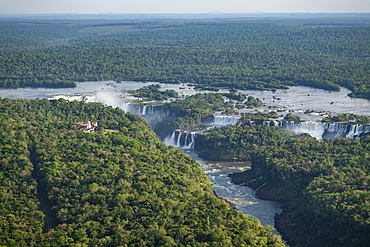 Aerial view of Iguazu Falls with rainforest, Iguazu National Park, Misiones, Argentina, South America