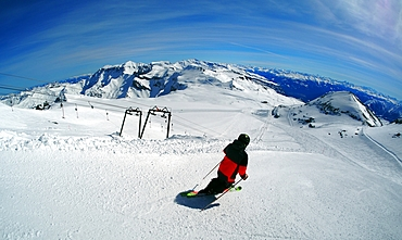 Glacier skiing, Flims-Laax ski area, Grisons, Switzerland