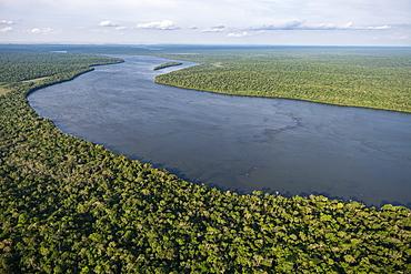 Aerial view of the Iguazu River just above the Iguazu Falls, Iguazu National Park, Parana, Brazil, South America