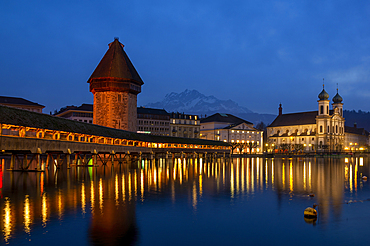 The Chapel Bridge over the Reuss and the water tower, Lucerne, Canton Lucerne, Switzerland