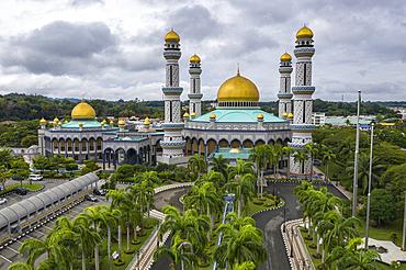 Aerial view of the Jame'Asr Hassan Bolkia Mosque, Gadong B, Bandar Seri Begawan, Brunei-Muara District, Brunei, Asia
