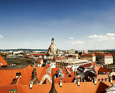 View over the roofs of Dresden to the Frauenkirche, Dresden, Germany