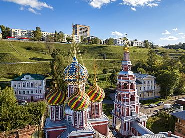 Aerial view of the colorful domes of the Church of the Nativity of the Blessed Virgin Mary (Stroganov Church), Nizhny Novgorod, Nizhny Novgorod District, Russia, Europe
