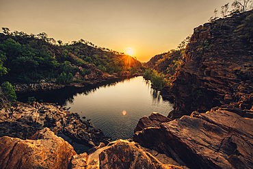 Edith Falls in Nitmiluk National Park; Kathrine; Northern Territory; Australia; Oceania; Waterfall at sunset; In the middle of the outback in Australia;