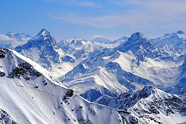 View to Piz Ela and the Bernina on the Rothorn, Lenzerheide ski area, eastern part, Graubünden, Switzerland