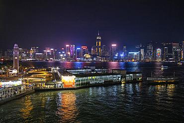 Hong Kong Cruise Terminal with city skyline at night, Hong Kong, Hong Kong, China, Asia