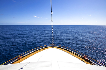 Bow of the expedition cruise ship World Explorer (Nicko Cruises) in the South Atlantic, near Brazil, South America