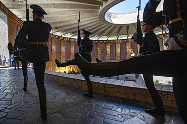 Changing of the guard at the Eternal Flame in the Mamayev Kurgan memorial complex next to the giant Motherland Ruf statue, Volgograd, Volgograd Oblast, Russia, Europe