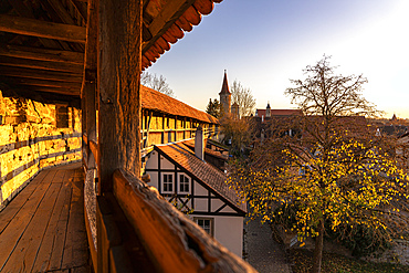 Historic city wall of Rothenburg ob der Tauber in the evening light, Middle Franconia, Bavaria, Germany