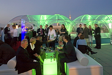 EnBW stands for Energie Baden-Wuerttemberg AG, here is a party on the roof of their headquarters in the Friedrichstrasse, Berlin, Germany