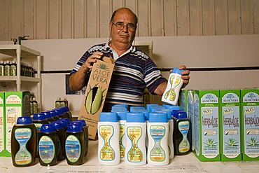 Managing director Juan Rodriguez Marrero with Aloe Vera products, Valles de Ortega, Fuerteventura, Canary Islands, Spain, Europe