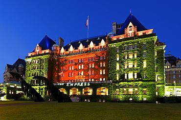 Hotel Empress at twilight, luxery facade, Victoria, Vancouver Island, Canada, North America