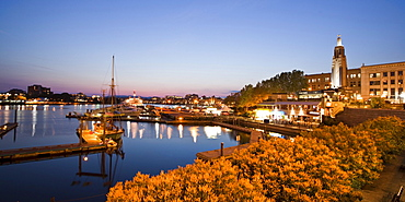 Victoria harbour Panorama at twilight in Victoria, Vancouver Island, Canada, North America