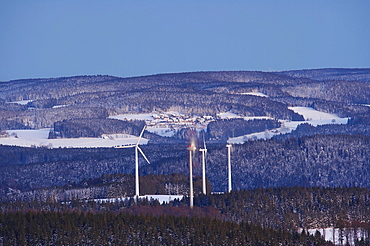 View from the mountain Kandel over the Black Forest with wind energy plant and the village of Neukirch, Baden-Wuerttemberg, Germany, Europe