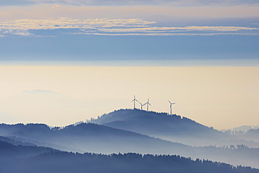 Winter's day on the Kandel, Fog, Rosskopf with wind-power plant, Black Forest, Baden-Wuerttemberg, Germany, Europe