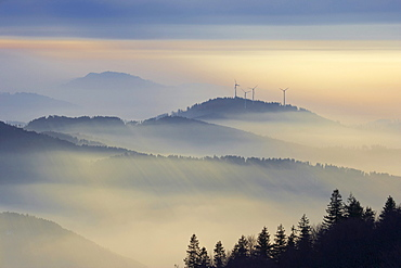 Winter's evening on the Kandel, Fog, Rosskopf with wind-power plant, Black Forest, Baden-Wuerttemberg, Germany, Europe
