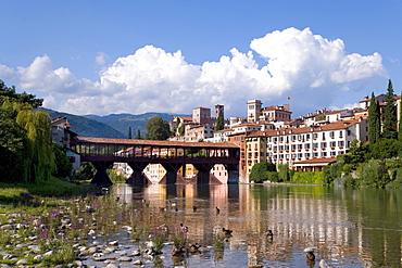 Alpini Bridge, Ponte degli Alpini, covered wooden pontoon bridge designed by the architect Andrea Palladio, Bassano del Grappa, Veneto, Italy