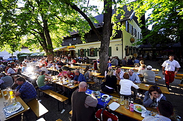 Guests in a beergarden, Aying, Bavaria, Germany