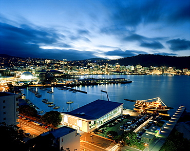 View over the illuminated Lambton Harbour with Clyde Quay Marina in the evening, Wellington, North Island, New Zealand