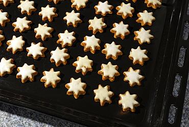 Baking tray with Christmas cookies cinnamon stars