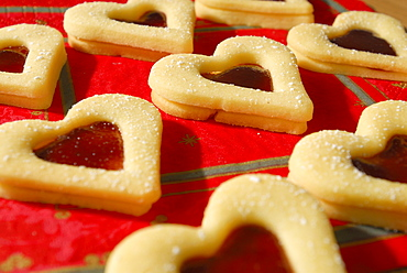 Christmas cookies raspberry hearts covered with sugar
