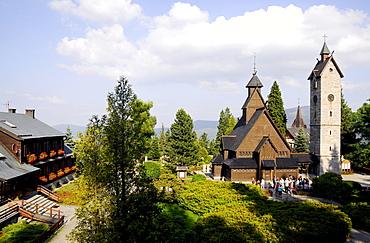 Stave church Wang under clouded sky, Karpacz, Bohemian mountains, lower-Silesia, Poland, Europe