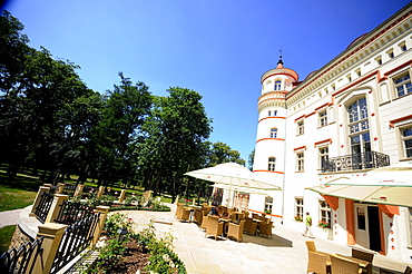 View at hotel Wojanow castle in the sunlight, Lomnica, Bohemian mountains, Lower Silesia, Poland, Europe