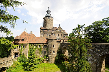 Castle Tschochau under clouded sky, Bohemian mountains, lower-Silesia, Poland, Europe
