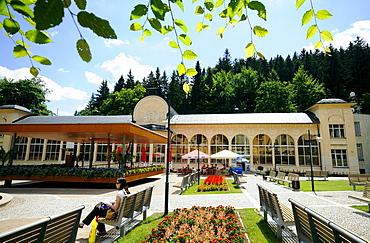 View at buildings at the health resort Janske Lazne, Bohemian mountains, Czech Republic, Europe