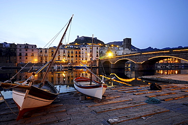 Houses and boats at the river Temo in the evening, Bosa, Sardinia, Italy, Europe