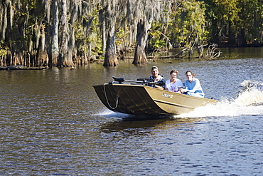 Tour on a swamp boat near Attakapas Landing on Lake Verret, near Pierre Part, Louisiana, USA