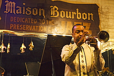 Maison Bourbon is one of the best choices on Bourbon street to listen to Jazz, French Quarter, New Orleans, Louisiana, USA