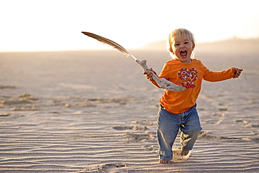 Little girl running with a feather in her hand over the sandy beach, Punta Conejo, Baja California Sur, Mexico, America