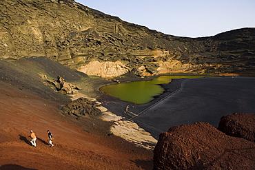 Crater of extinct volcano, Charco de los Clicos, salt water, green colour through phytoplancton, El Golfo, UNESCO Biosphere Reserve, Lanzarote, Canary Islands, Spain, Europe