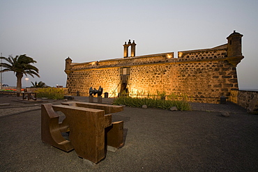 Sculpture near the castle, Castillo de San Jose, museum of contemporary art, Museo Internacional de Arte Contemporanea, interior design by artist and architect Cesar Manrique, Arrecife, Lanzarote, Canary Islands, Spain, Europe