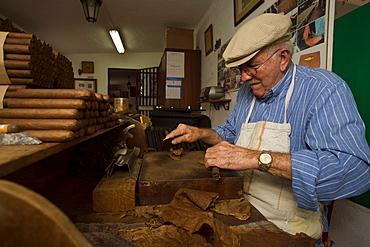 Man, Eusebio Martin, producing cigars in his workshop, Cigarros Artesanos, Finca Tabaquera El Sitio S.L., Brena Alta, La Palma, Canary Islands, Spain, Europe