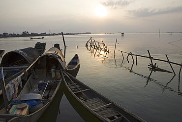 Fishing boats on the Thu Bon River at sunset, Quang Nam Province, Vietnam, Asia