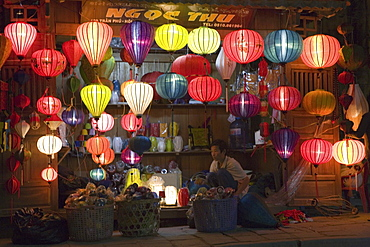 Chinese laterns in front of a shop in the evening, Hoi An, Quang Nam Province, Vietnam, Asia