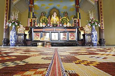 Interior view of the Thien Van Hanh Pagoda at Dalat, Lam Dong Province, Vietnam, Asia