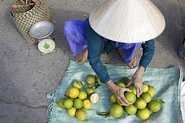 Vietnamese woman at the market at Cai Rang, Mekong Delta, Can Tho Province, Vietnam, Asia