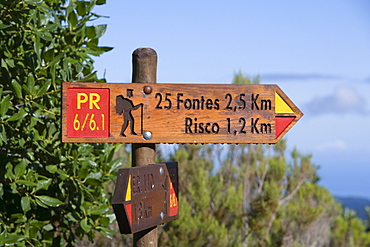 Sign showing the Levada Walk to the 25 Fontes and Risco waterfalls, Near Rabacaul, Madeira, Portugal