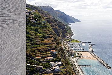 View of Calheta Beach and Marina from Casa das Mudas Arts Centre, Calheta, Madeira, Portugal