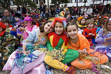 Children in fancy dress costumes at Carnival, Funchal, Madeira, Portugal