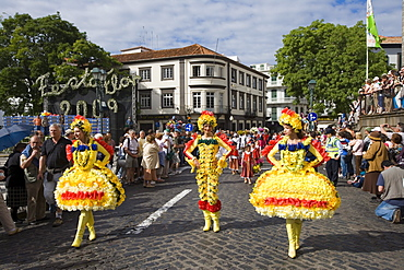Women in Floral Costumes at the Flower Festival Parade, Funchal, Madeira, Portugal
